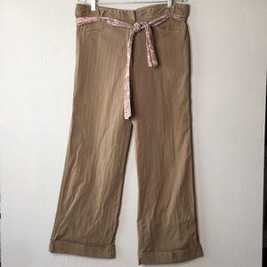 Anthro Elevenses Tan Pink Pinstripe Cuffed Trouser